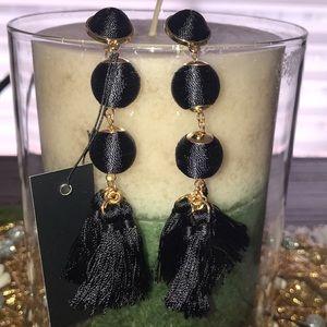 Bauble black fringe tassel earrings